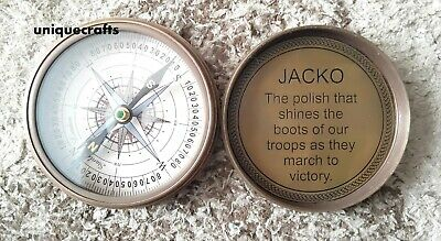 Antique Brass Nautical Poem Compass Jacko Directional Pocket Item.