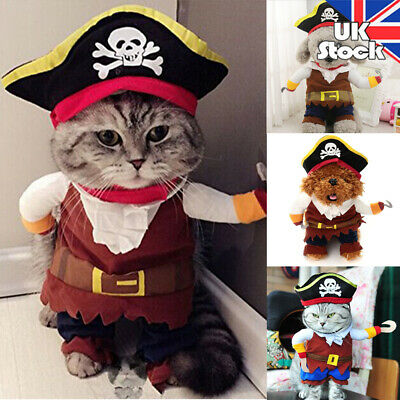 Pet Dog Cat Shirt Pumpkin Pirate Fancy Dress Costume Outfit Halloween Clothes UK