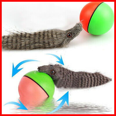 Dog/Cat 8x21cm Motorized Moving New! Weasel Appears Rolling Ball Pet Toy Funny