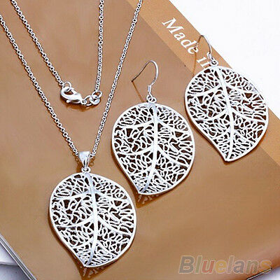 HK- Fantastic Lady's Silver Plated Leaf Style Earrrings Chain Set Necklace Jewel