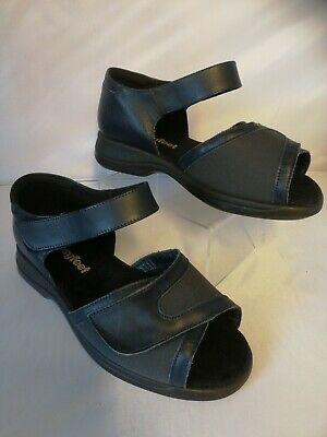 Ladies Cosyfeet Hop Sandal shoes size 7 Extra roomy blue leather