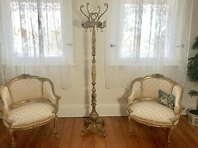 Superb Vintage Antique French Louis Style Hat Stand~Hall~Gold + Marble