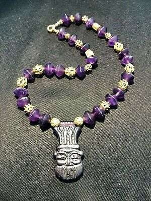 han dynasty chines art man face amethyst necklace