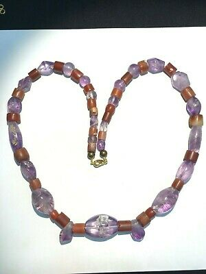 rare ancient  agate and crstals amytist necklace gems qulaity