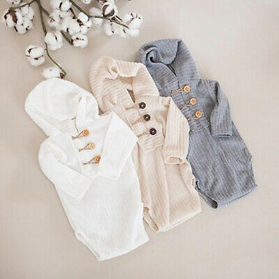 US Newborn Baby Girl Boy Long Sleeve Hooded One-Pieces Romper Outfits Clothes
