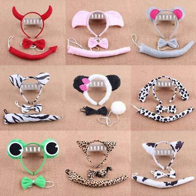 Animal Ears & Tail Bow Set Adults Child Fancy Dress Costume Accessory Party Play