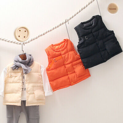 New Kids Warm Cotton Padded Vest Boys Girls Fashion Solid Color Waistcoat