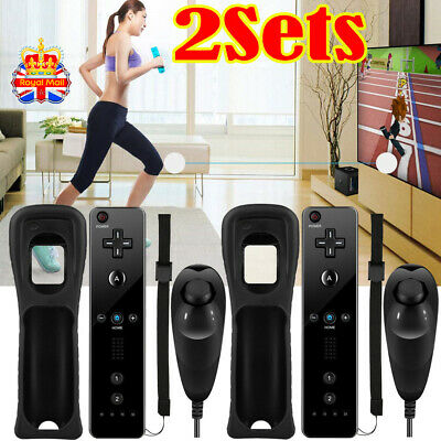 2Sets BLACK NUNCHUCK and REMOTE CONTROLLER FOR NINTENDO WII U + SILICONE + STRAP