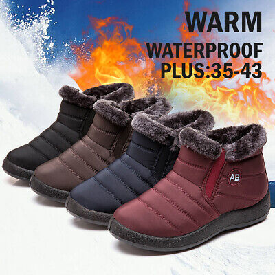 Waterproof Women Winter Warm Fur-lined Ankle Boots Slip-On Flat Snow Boots Shoes