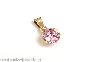 9ct Gold Pink CZ oval necklace Pendant no Chain Gift Boxed Made in UK
