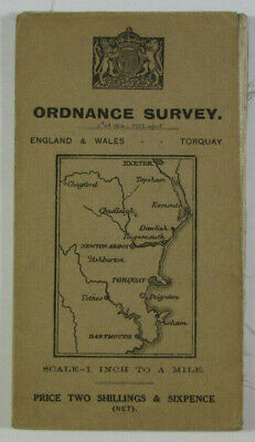 1914 Old Antique OS Ordnance Survey One-Inch Third Edition Map Torquay District