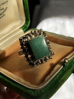 Antique Vintage Old Chinese Ring Aventurine Rectangular Cut Raised Elaborate Set
