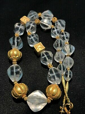 Tang dynasty crstals quartz beads with same dynasty gold beads necklaces