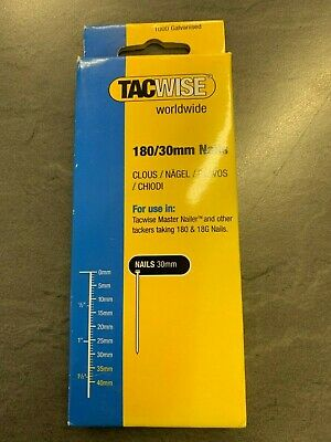 """Tacwise 180 Series Nails 30mm (1 1/4"""") Galvanised Box Of 1000 Brads Nail 0362"""