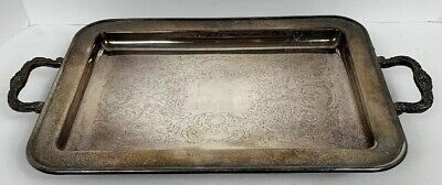 "Leonard SILVER PLATE Rectangle Footed Serving Tray with Handles 13 1/2"" Vintage"