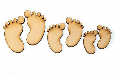 Wooden MDF Baby Feet Shapes Bunting Craft Embellishments Decorations Baby Shower