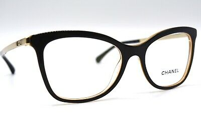 NEW CHANEL 3365 c.1609 BLACK GOLD AUTHENTIC EYEGLASSES FRAME RX 52-17 ITALY #017
