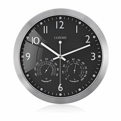 12 Inch Metal Frame Round Wall Clock With Thermometer Hygrometer Display+%