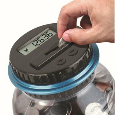Large Piggy Bank Counter Electronic Digital LCD Counting Coin Saving Box Jar+%