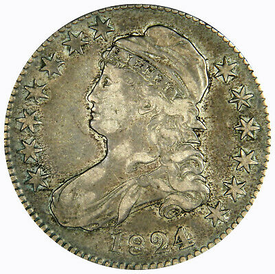 1824 Bust Half Dollar ~ Bold 4 Over Various Dates O-103 ~ Nice Original Xf!
