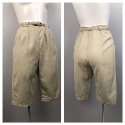 1950s Shorts / 50s Chino Pedal Pusher Belted Pants High Waist / Women's XS