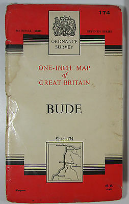 1966 old vintage OS Ordnance Survey one-inch Seventh Series map 174 Bude