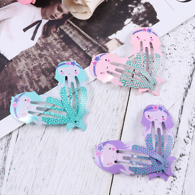 12pcs Kids Girl Baby Hairpin Hair Clips Mermaid Metal Snap Barrettes Cute