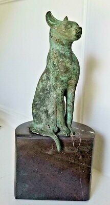 Antique Bronze Egyptian Seated Bastet Cat Appraised Late Dynasty Phoenix Estate