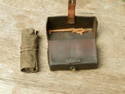 Original Wwii Browning Bar 1918 Leather Pouch Tool Box Parts Kit Dust Cover Ww2