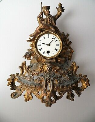 Antique French Ormolu Spelter Rococo Baroque Huntsman Mantel Clock