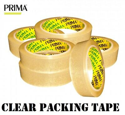 CLEAR Strong PACKING TAPE Parcel Carton Sealing Sellotape Dispenser 24mm x 66m