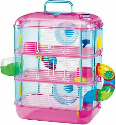 Lazy Bones Hamster Cage Pink Three Storey Cage With Tubes & Tunnels
