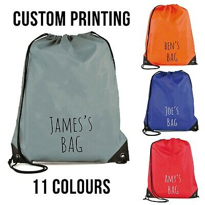Personalised Any Name Or Text Sport Drawstring Bag PE GYM School P.E Kids