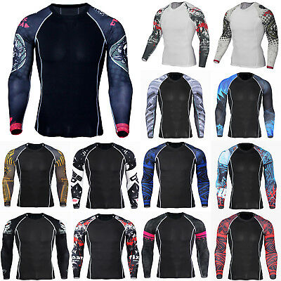 Mens Thermal Compression Long Sleeve Armour Base Layer Top Sport Gym T-Shirt Fit