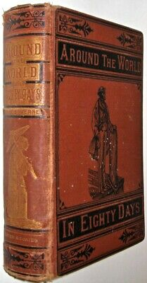 AROUND THE WORLD IN 80 DAYS!Tour Jules Verne(FIRST EDITION!)1873! POOR CONDITION