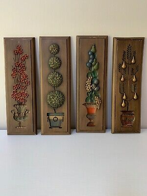 VTG Mid Century Burwood Wall Plaques Hanging Decor Flora Arabesque Lot Of 4!