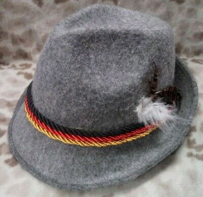 Vintage Gray Felt Fedora - Good Shape! Red/Black/Gold Rope and Feather Accents