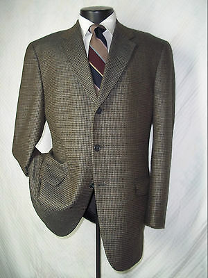 Nordstrom Joseph Abboud Taupe Checks 3 Buttons Silk & Wool Jacket, Coat 42 R