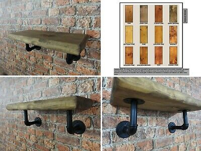 Rustic Industrial Shelves Retro Solid Wooden Chunky Floating Pipe Shelf Handmade