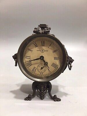 Chinese Old copper handmade tripod Mechanical clock table Home decoration
