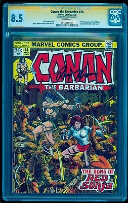 CONAN THE BARBARIAN 24 CGC 8.5 SS ** SIGNED ROY THOMAS ** 1st FULL RED SONJA **