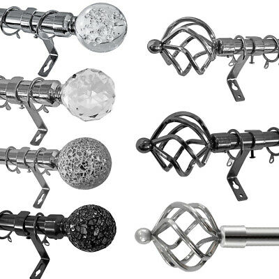 CHROME Extendable Metal Curtain Pole Poles 19/28mm Include Finals Rings Fittings