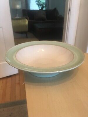 "Denby Langley Pure Green Wide Rimmed Soup Bowl 9"" Round Mint Green"