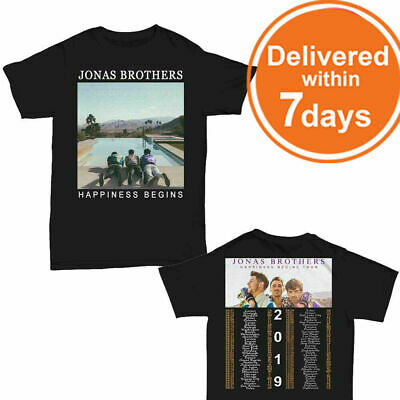 Jonas Brothers Shirt 'Happiness Begins' tour 2019 T-Shirt Black Men Size M-3XL