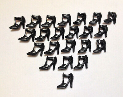 """40 Pairs Black High Heel Shoes Boots For 11.5"""" Doll / Toy Girl Gifts C11"""