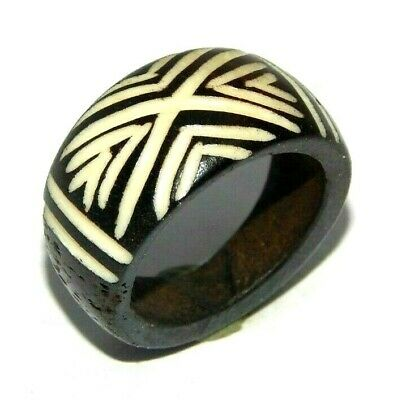100% Natural Bone Carving Designer Handmade Fashion Jewelry Ring Size 9.5 R722