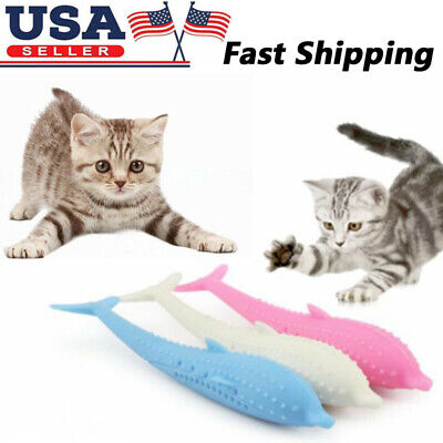 Interactive Pet Cat Fish Shape Toothbrush, Pet Eco-Friendly Silicone Molar Stick