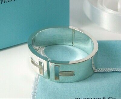 Tiffany & Co T Cutout Hinged Cuff Bangle Bracelet Size MED-Retired, New, All Pkg