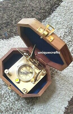 Shiny Brass square Sundial Compass With 8 Corner Wooden Box Nautical Item.