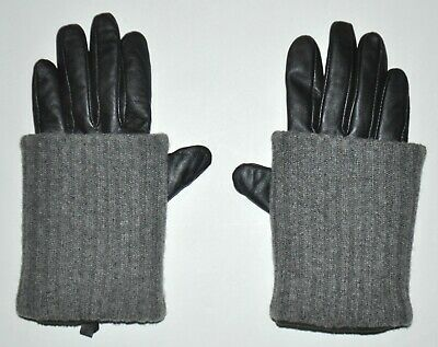Top Shop Women's Black Leather Technology Gloves Lined & Gray Wool Cuff AWESOME